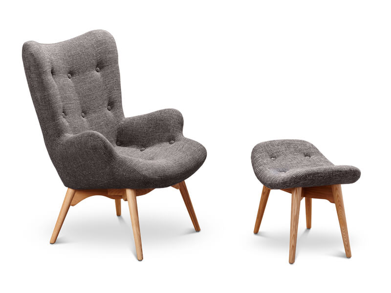 grey upholstery chair and stool