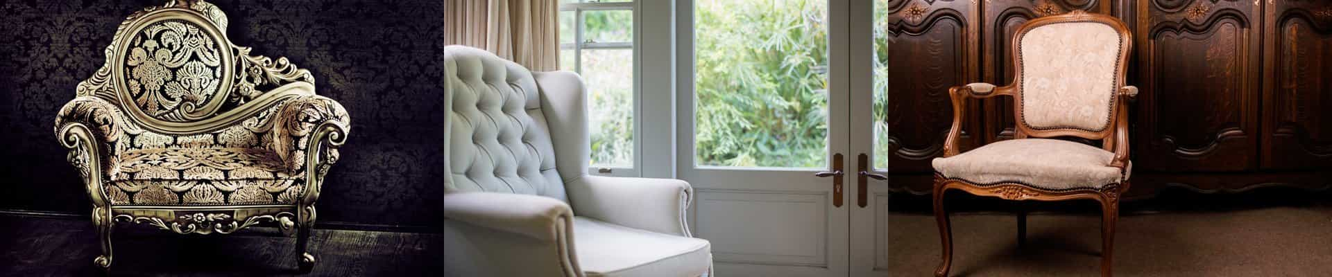 white fabric re-upholstery