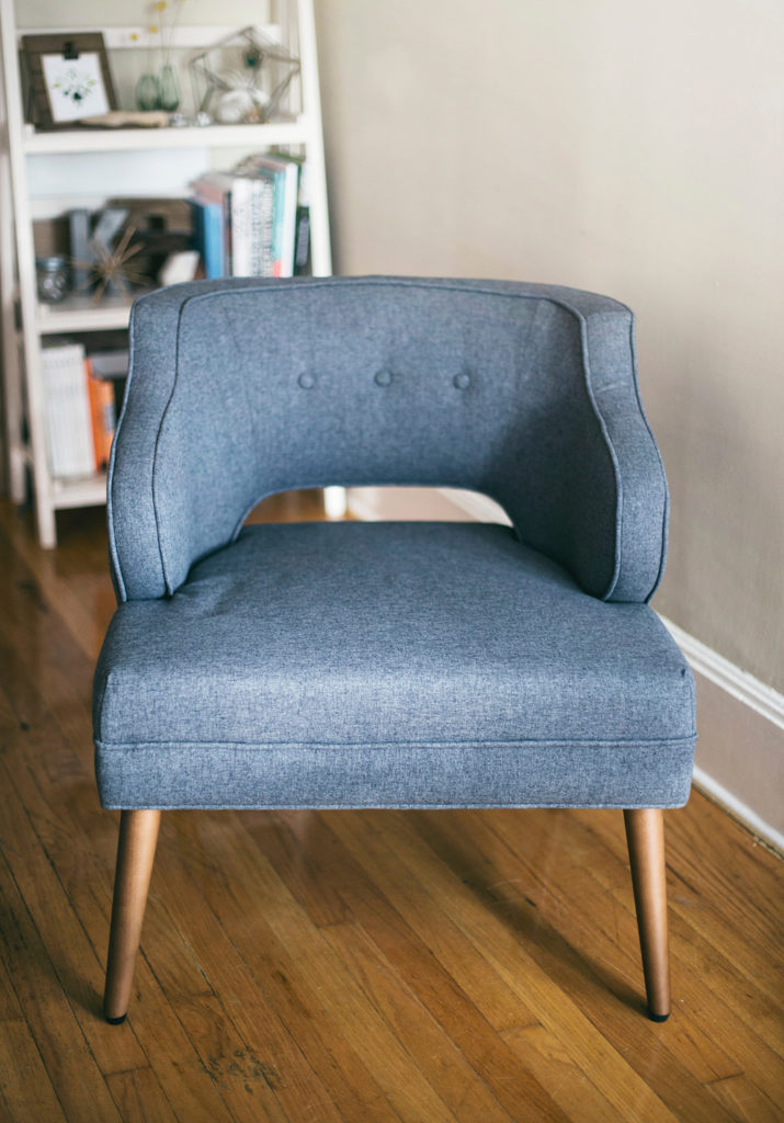 blue fabric chair upholstery